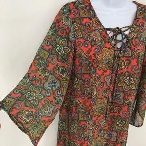 Espresso Coral and Blue Paisley Flare Sleeve Dress